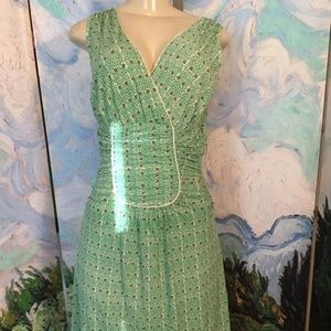 Max Edition Green Print Lined Ruched Sides Dress